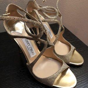 Women's Jimmy Choo Lang Glitter Sandal, Size 8.5US